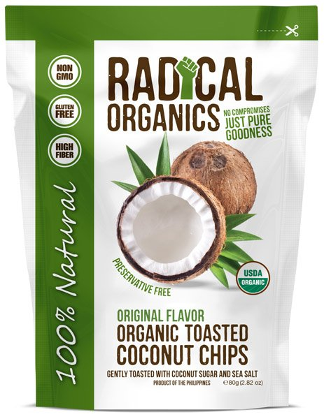 Restované kokosové chipsy s cukrom a morskou soľou 80g