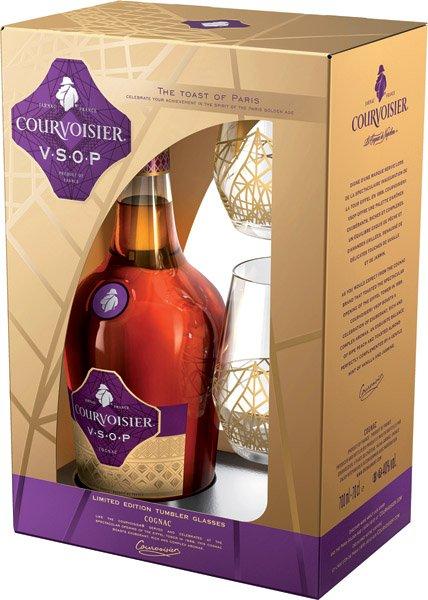 COURVOISIER VSOP cognac 40% + 2 poháre